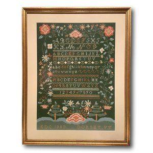 Vintage Handmade Vermont Sampler Textile Art in Needlepoint